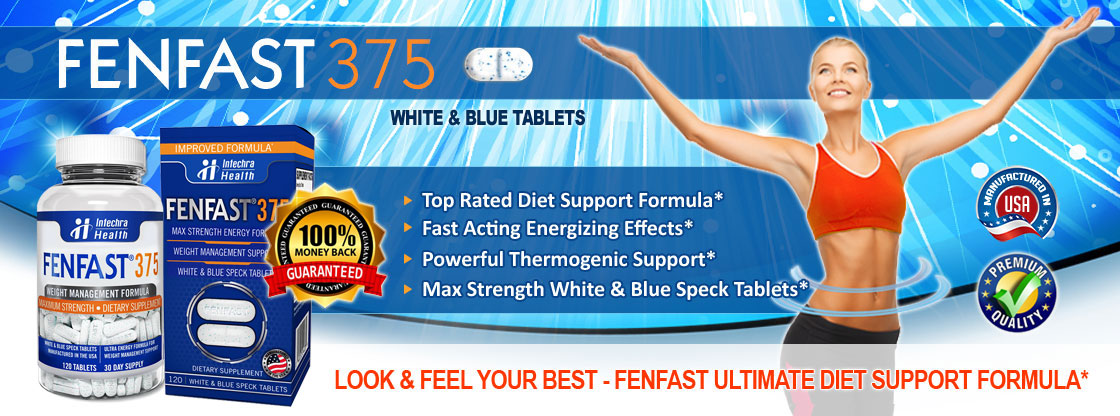 FENFAST 375 White & Blue Tablets Top Rated Diet Support Formula