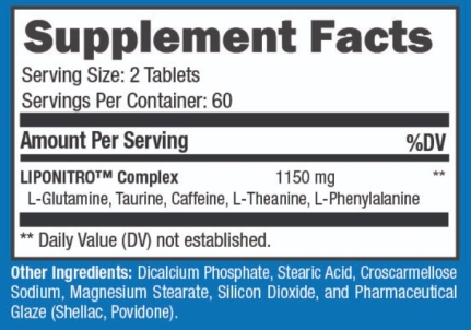 2019 LipoNitro Supplement Facts Ingredients