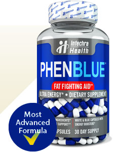 Official PHENBLUE white and blue capsules bottle of diet pills containing patented fat interaction ingredients