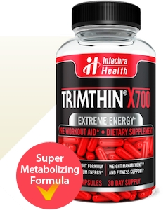 Bottle of Official TRIMTHIN X700 Red Capsules best diet pills for energy with weight management support ingredients