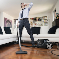 burned calories calculator man sweating while cleaning the house