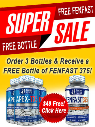 Buy three bottles of APEX-TX5 and get 1 bottle of FenFast 375 free!